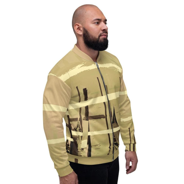 Oriental Harbor Design on Beige Colored Men's Bomber Jacket