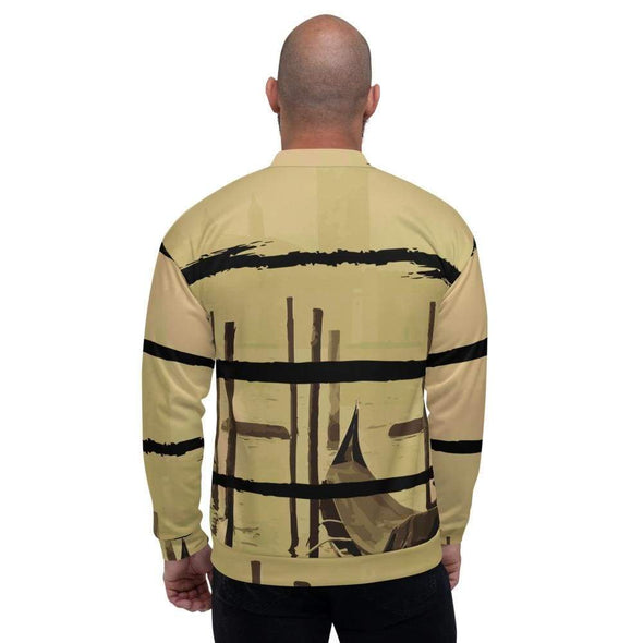 Black Men's Bomber Jacket with Oriental Harbor Design -