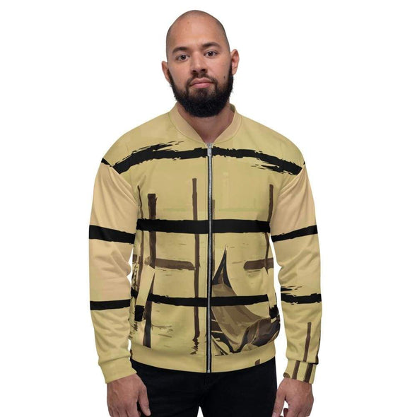Black Men's Bomber Jacket with Oriental Harbor Design - XS -