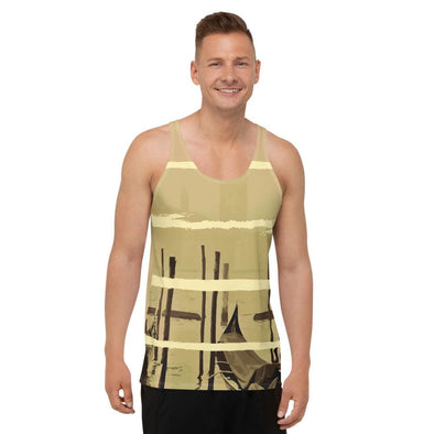 Oriental Harbor Design on Men's Tank Top (with Beige