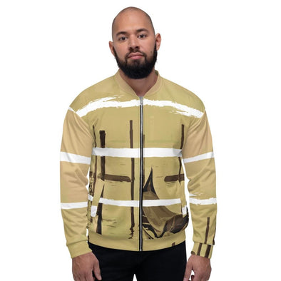 Oriental Harbor Design on White Colored Men's Bomber Jacket