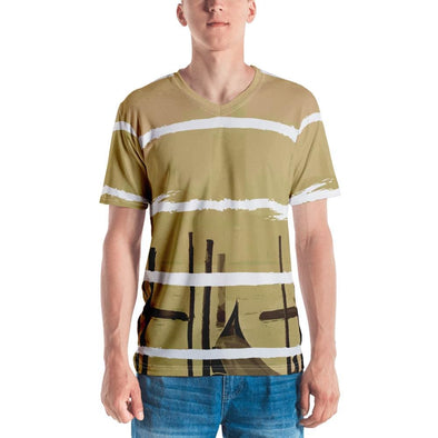 Oriental Harbor Design on White Colored Men's T-Shirt - XS -