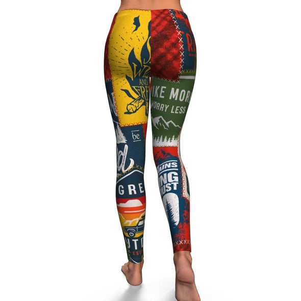 Patchwork Camping Design on Leggings - Leggings
