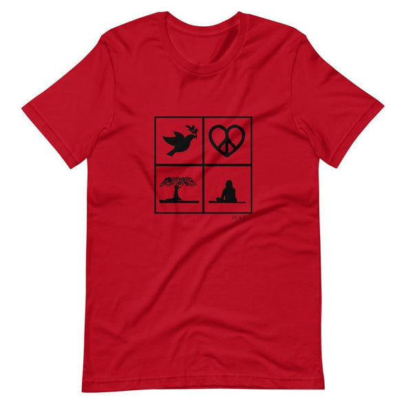 Peace Art Design on Light Colored T-Shirt – Ref 021 - Red /