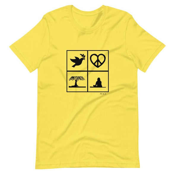 Peace Art Design on Light Colored T-Shirt – Ref 021 - Yellow