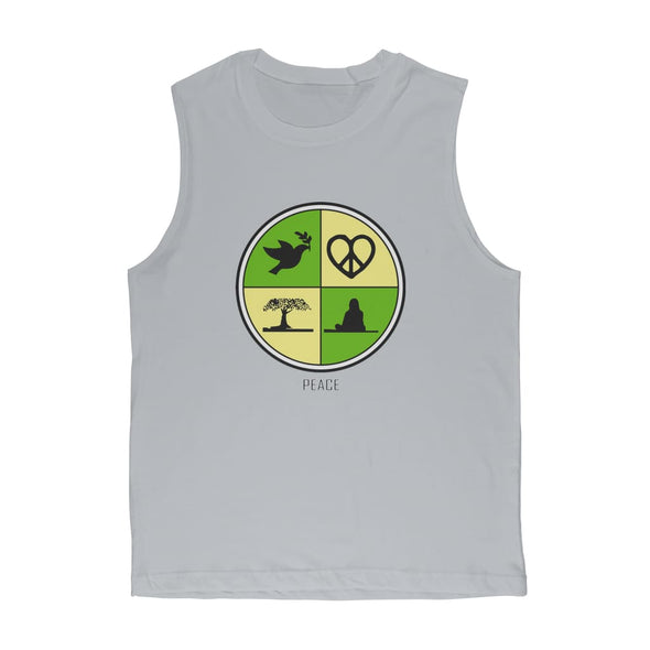 Peace Circle Premium Adult Muscle Top - Light Grey / Unisex