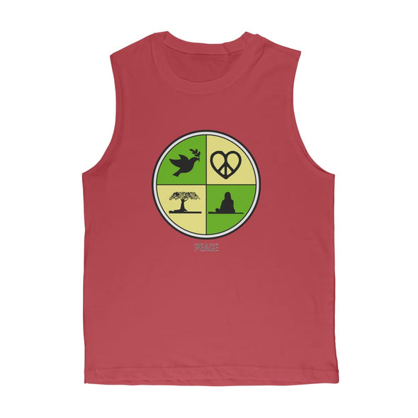 Peace Circle Premium Adult Muscle Top - Red / Unisex / S -