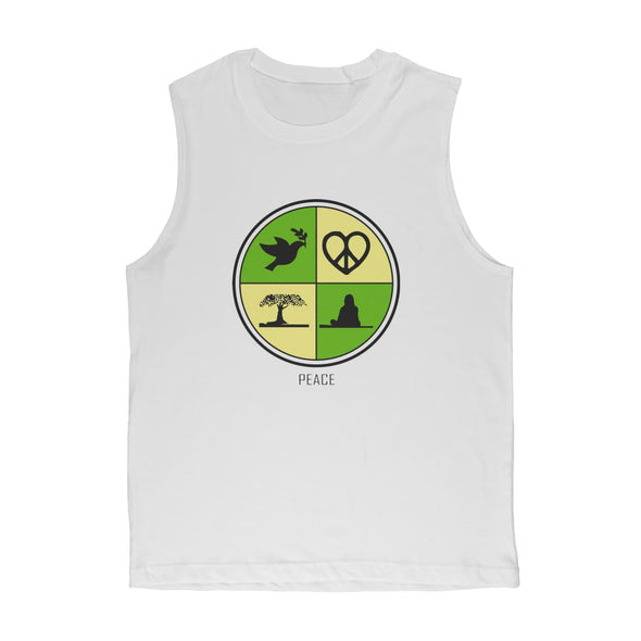 Peace Circle Premium Adult Muscle Top - White / Unisex / S -