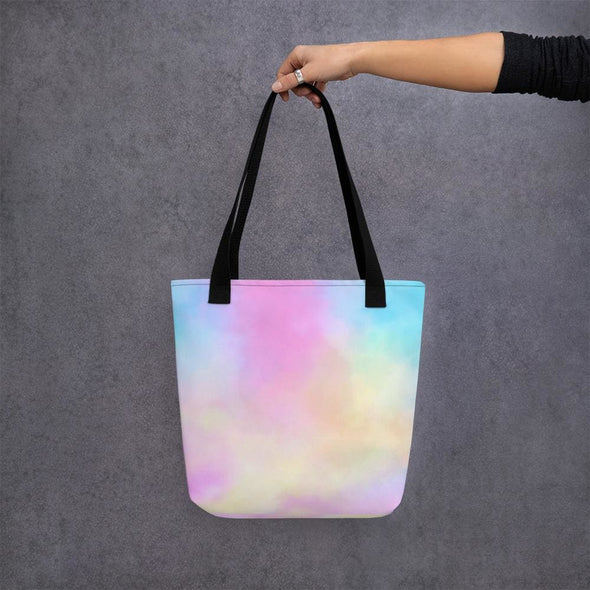 Pink Clouds Design Tote Bag - Black - Tote Bag