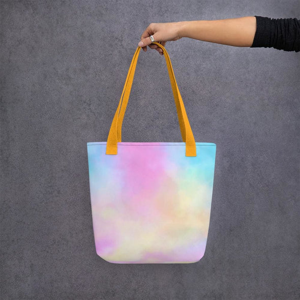 Pink Clouds Design Tote Bag - Yellow - Tote Bag
