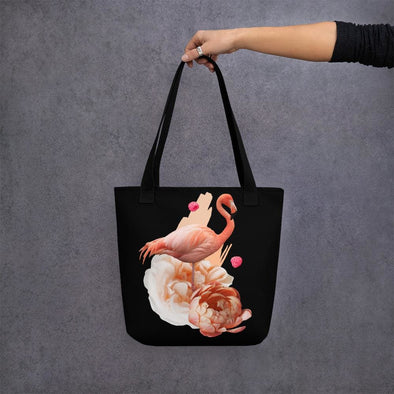 Pink Flamingo Design Tote bag - Black - Tote Bag