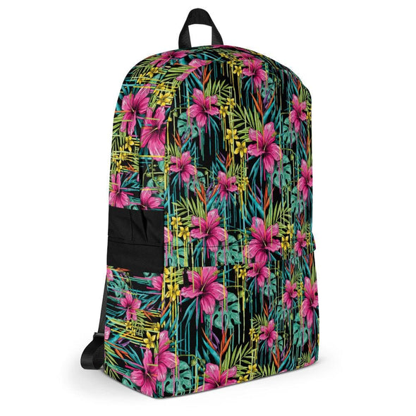 Pink Flower Design Backpack - Bag