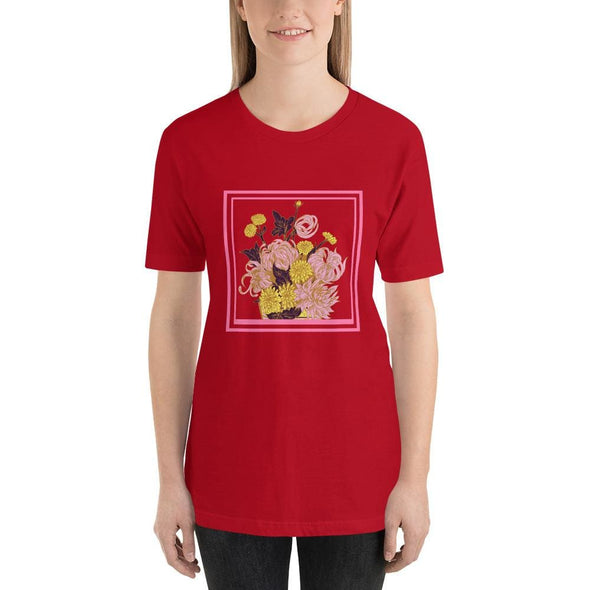 Pink Flower Design on Short-Sleeve T-Shirt - Red / S -