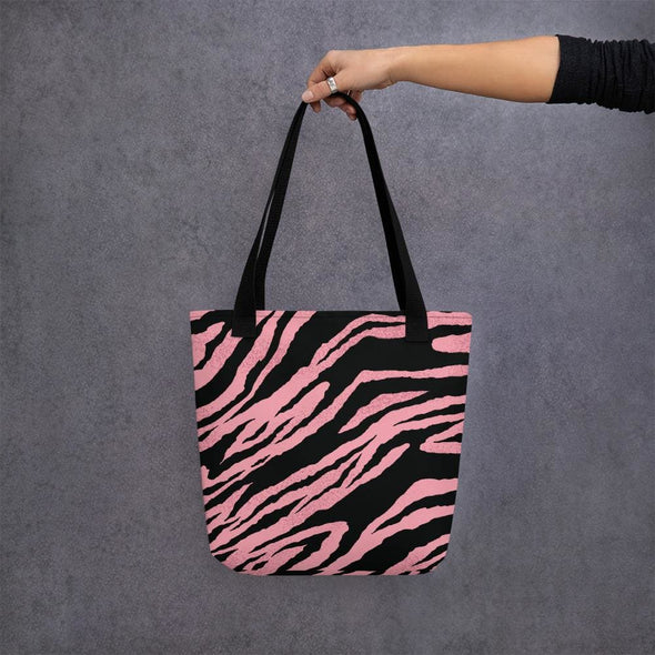 Pink Tiger Stripe Design Tote Bag - Black - Tote Bag