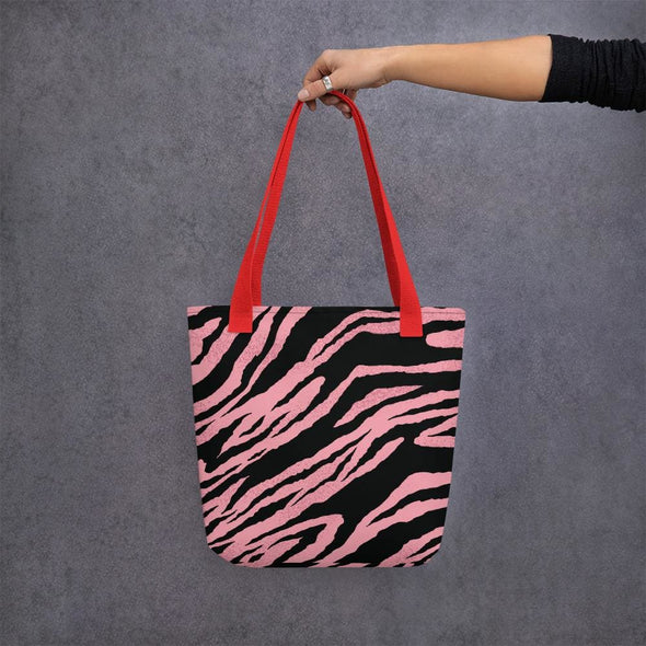 Pink Tiger Stripe Design Tote Bag - Red - Tote Bag