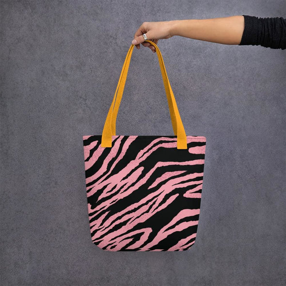 Pink Tiger Stripe Design Tote Bag - Yellow - Tote Bag