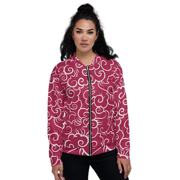 Red Clouds Design on Bomber Jacket - XS - Jacket