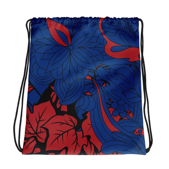 Red Leaf Design on Blue Colored Drawstring Bag - Bag