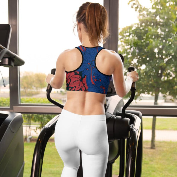 Red Leaf Design on Blue Colored Sports Bra - Sports Bra