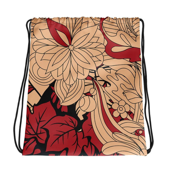 Red Leaf Design on Cream Colored Drawstring Bag - Bag