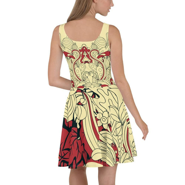 Red Leaf Design on Cream Colored Flared Skirt Dress -