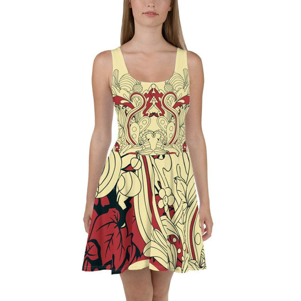Red Leaf Design on Cream Colored Flared Skirt Dress - XS -