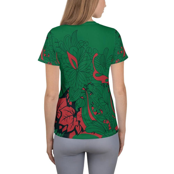 Red Leaf Design on Green Colored Women's T-shirt - T-shirts