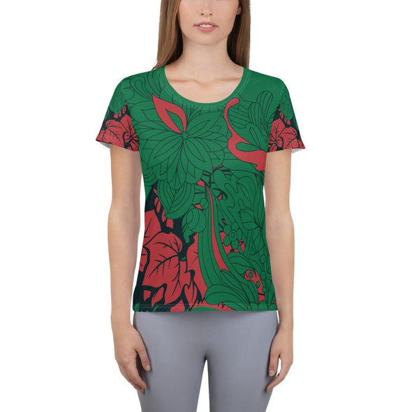 Red Leaf Design on Green Colored Women's T-shirt - XS -