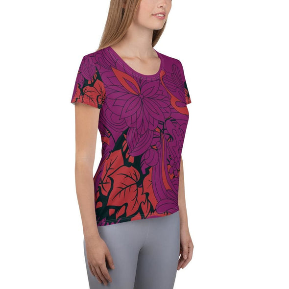 Red Leaf Design on Purple Colored Women's T-shirt - T-shirts