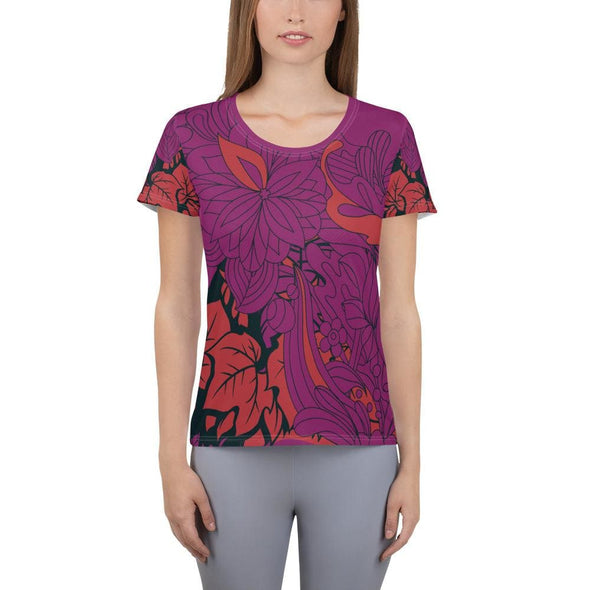 Red Leaf Design on Purple Colored Women's T-shirt - XS -