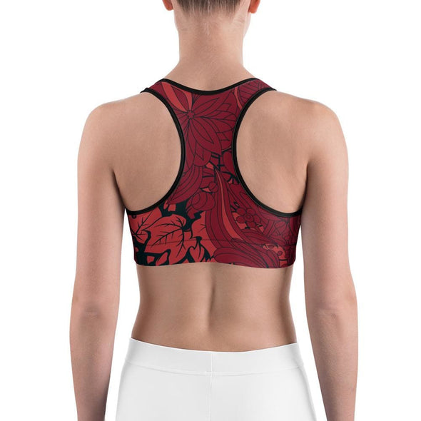 Red Leaf Design on Red Colored Sports Bra - Sports Bra
