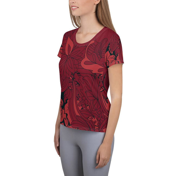 Red Leaf Design on Red Colored Women's T-shirt - T-shirts
