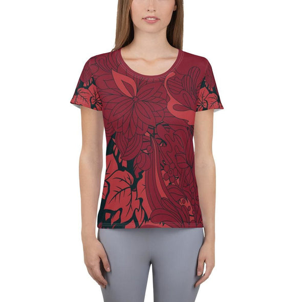 Red Leaf Design on Red Colored Women's T-shirt - XS -