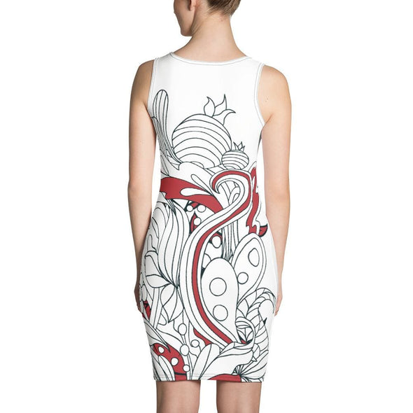 Red Leaf Design on White Colored Dress - Dresses