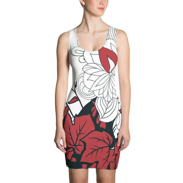 Red Leaf Design on White Colored Dress - XS - Dresses
