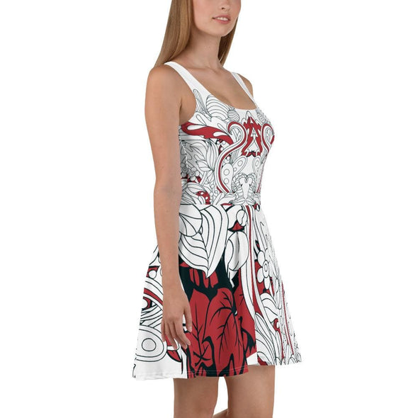 Red Leaf Design on White Colored Flared Skirt Dress -
