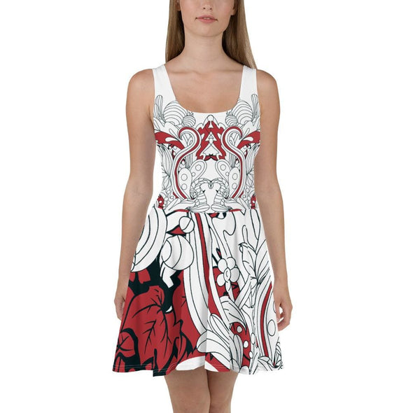Red Leaf Design on White Colored Flared Skirt Dress - XS -