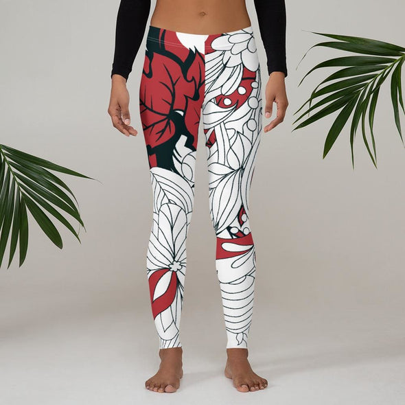 Red Leaf Design on White Colored Leggings - Leggings