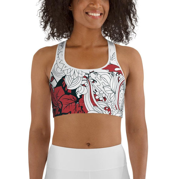 Red Leaf Design on White Colored Sports Bra - XS - Sports