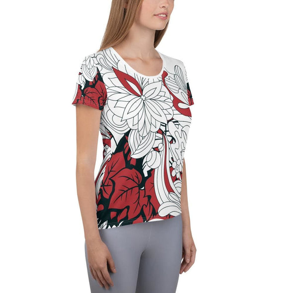 Red Leaf Design on White Colored Women's T-shirt - T-shirts