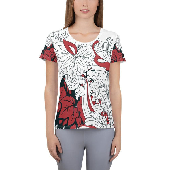 Red Leaf Design on White Colored Women's T-shirt - XS -