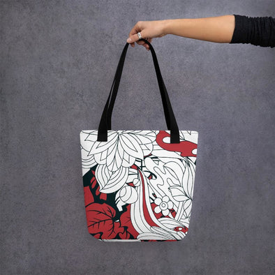 Red Leaf Design Tote bag - Black - Tote Bag