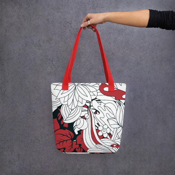 Red Leaf Design Tote bag - Red - Tote Bag
