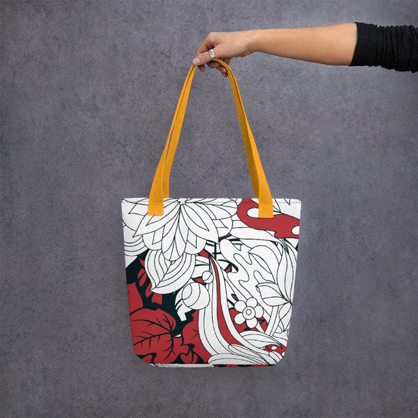 Red Leaf Design Tote bag - Yellow - Tote Bag