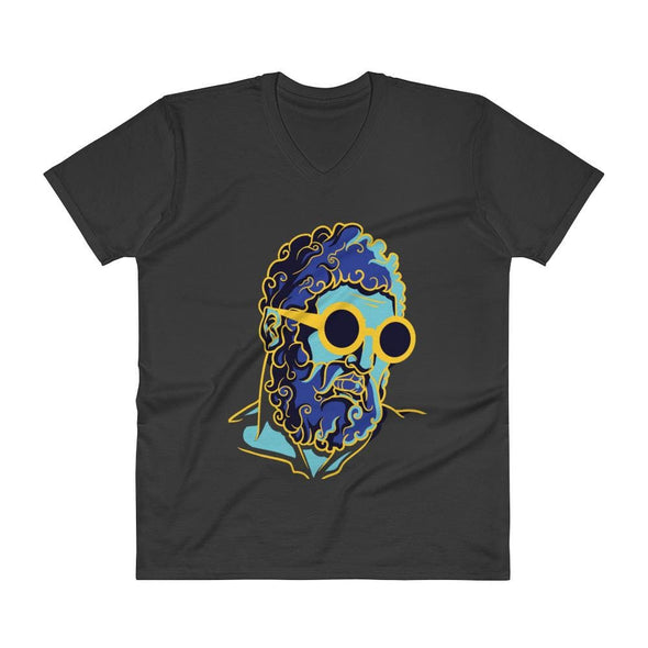 Retro Man Design on V-Neck T-Shirt - Black / S - T-shirts