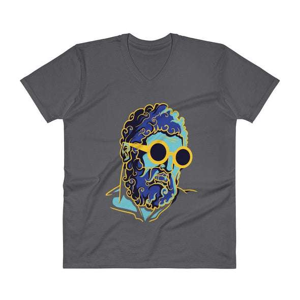 Retro Man Design on V-Neck T-Shirt - Charcoal / S - T-shirts