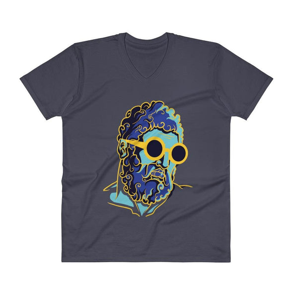 Retro Man Design on V-Neck T-Shirt - Navy / S - T-shirts