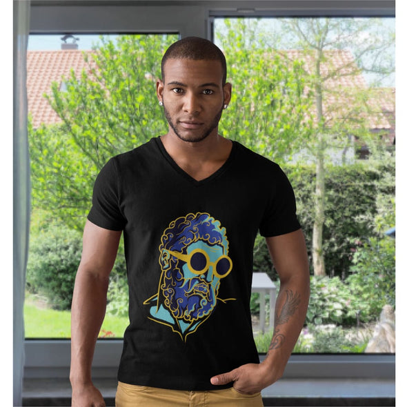 Retro Man Design on V-Neck T-Shirt - T-shirts