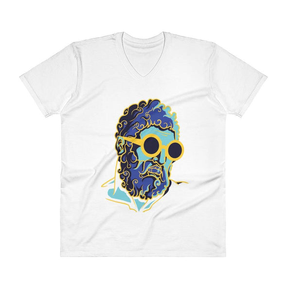 Retro Man Design on V-Neck T-Shirt - White / S - T-shirts