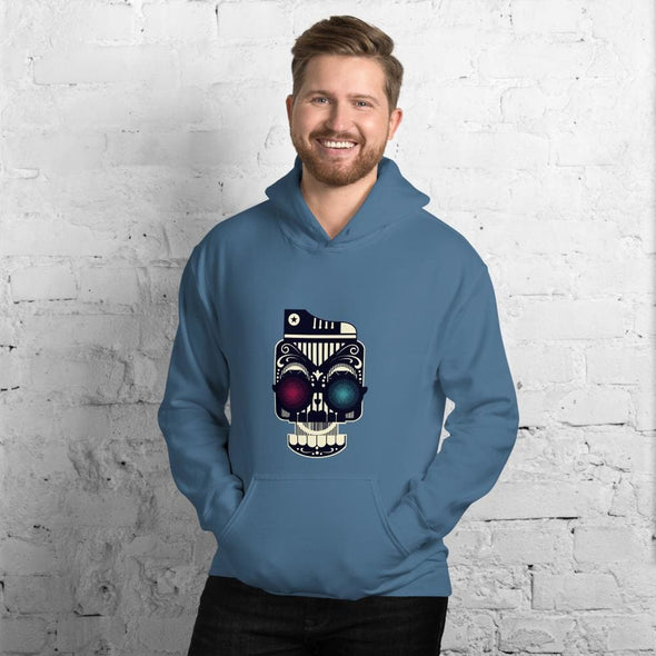 Retro Robot Design on Men's Hoodie - Indigo Blue / S -